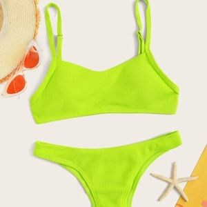 NEON bikini ribbed lime green